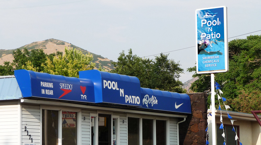 Pool 'n Patio pole sign